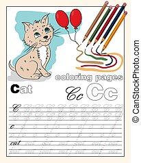 couleur, écriture, page, lettres, 3, alphabet, illustration, dessins, anglaise, ligne, animal