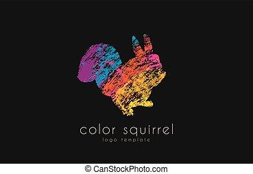 couleur écureuil, sweetl, créatif, animal, logo.