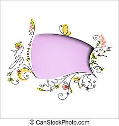 couleur, éléments floraux, bulle discours