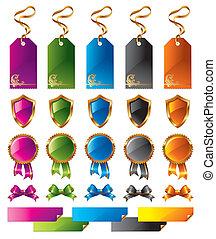 couleur, étiquettes, ensemble, vecteur, signes