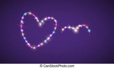 couleur, étoile pourpre, fond, cœurs