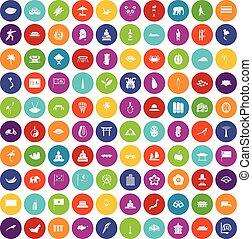 couleur, 100, ensemble, asiatique, icônes