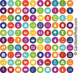 couleur, 100, ensemble, fitness, icônes