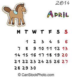 couleur, 2014, cheval, calendrier, avril