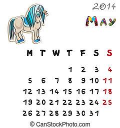 couleur, 2014, cheval, mai, calendrier