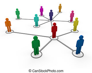 couleur, 3d, réseau, équipe