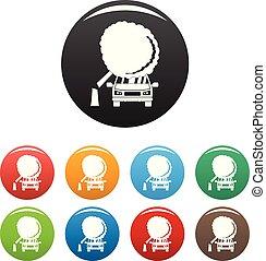 couleur, accident, ensemble, vecteur, icônes