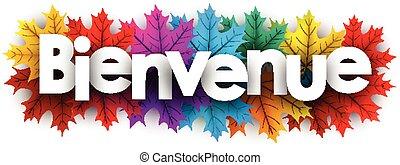 couleur, accueil, leaves., automne, bannière, érable