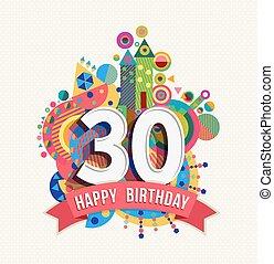 couleur, affiche, 30, salutation, anniversaire, année, carte...