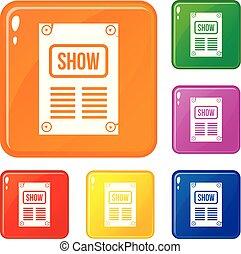 couleur, affiche, vecteur, ensemble, icônes