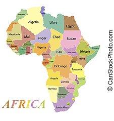 couleur, afrique, noms, carte, pays