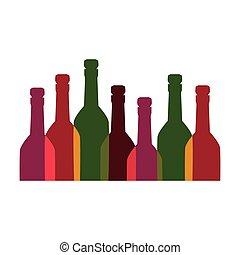 couleur, alcool, ensemble, bouteilles, fond
