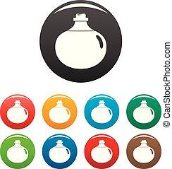 couleur, aloès, ensemble, liquide, icônes