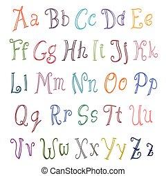 couleur, alphabet, ensemble, sur, white., vecteur