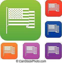 couleur, américain, ensemble, drapeau, collection