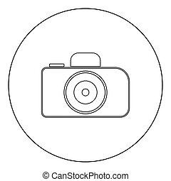 couleur, appareil photo, noir, icône, cercle