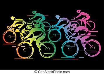 couleur, arc-en-ciel, course, peleton, cycle