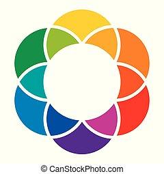 couleur, arc-en-ciel, fleur, roue, coloré