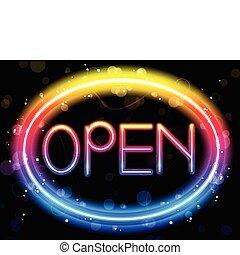 couleur, arc-en-ciel, signe ouvert néon