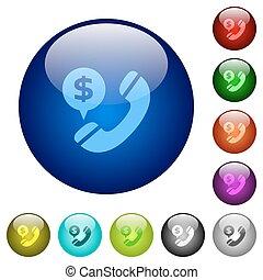couleur, argent, appeler, verre, boutons