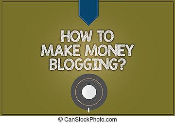 couleur, argent, planner., moderne, signe, vide, soucoupe, tasse, sommet, comment, blogger, encliqueter, bloggingquestion., café, photo, projection, ligne, conceptuel, reflet, texte, publicité, faire, vue