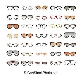 couleur, arrière-plan., blanc, lunettes soleil