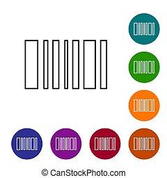 couleur, arrière-plan., cercle, noir, barcode, buttons., icône, ligne, vecteur, blanc, isolé, ensemble, illustration, icônes