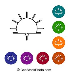 couleur, arrière-plan., cercle, noir, levers de soleil, buttons., icône, ligne, vecteur, blanc, isolé, ensemble, illustration, icônes