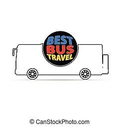 couleur, autobus, voyage, vecteur