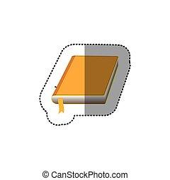 couleur, autocollant, couverture, jaune, milieu, livre, ombre, ruban