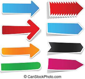 couleur, autocollant, flèches, set.