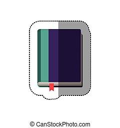 couleur, autocollant, milieu, livre, ombre, ruban