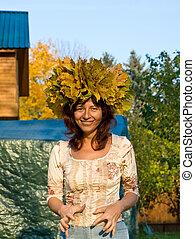 couleur, automne, femme, chapelet