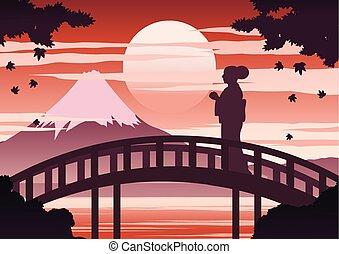 couleur, automne, kimono, robe, conception, silhouette, temps, japon, monter, stand, érable, ombre, lumière, vendange, quoique, femme, coucher soleil, fuji, pont
