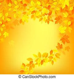 couleur automne, orrange, feuilles, décoration, jaune, fond, saison