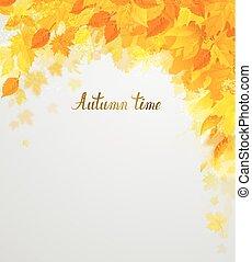 couleur automne, saison, feuilles, décoration, jaune, composition, rouges