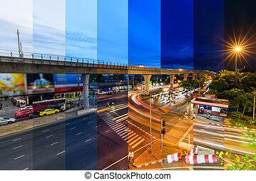 couleur, barbouillage, /, feu circulation, différent, jonction, flou, ville, ombre