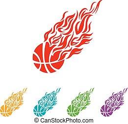 couleur basket-ball, balle, vecteur, espadrilles, flamme, icône