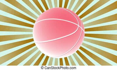 couleur basket-ball, deux, faire boucle, retro, fond, animé