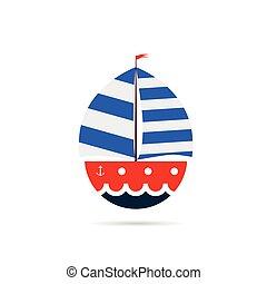 couleur, bateau, illustration, icône