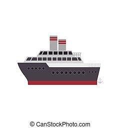 couleur, bateau, silhouette, croisière