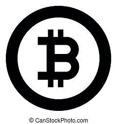couleur, bitcoin, milieu noir, rond, icône