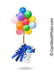couleur, blanc, ballons, isolé, cadeau