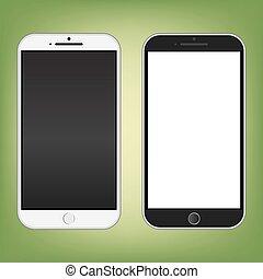 couleur, blanc, smartphone, noir