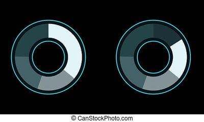 couleur, bleu, cercle, noir, graphique, partie, cinq, ...