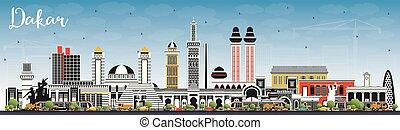 couleur, bleu, horizon, sénégal, dakar, ville, sky., bâtiments