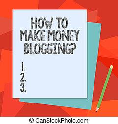 couleur, blogger, moderne, signe, papier, vide, pastel, différent, faire, comment, argent, conceptuel, bloggingquestion., pencil., photo, projection, ligne, construction, pile, texte, publicité, lien