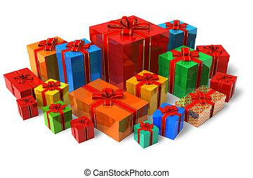 couleur, boîtes, ensemble, cadeau