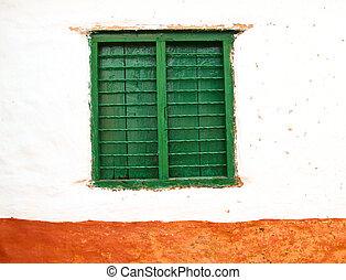 couleur, bois, fenêtre, vieux, mur
