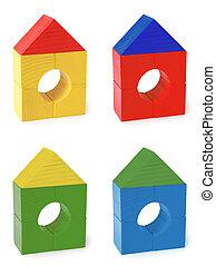 couleur, bois, multi, jouet, maisons